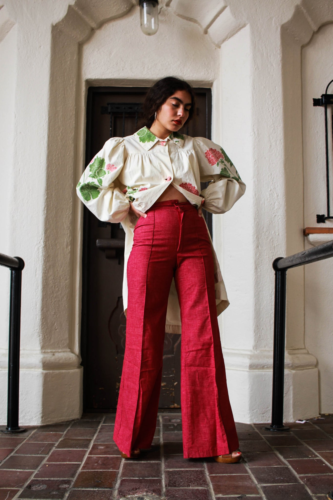 1970s Raspberry Cotton High-Waist Pants