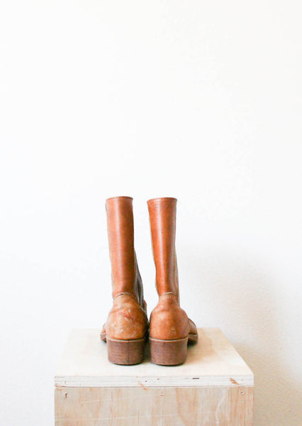 Tan Leather Western Riding Boots | 8