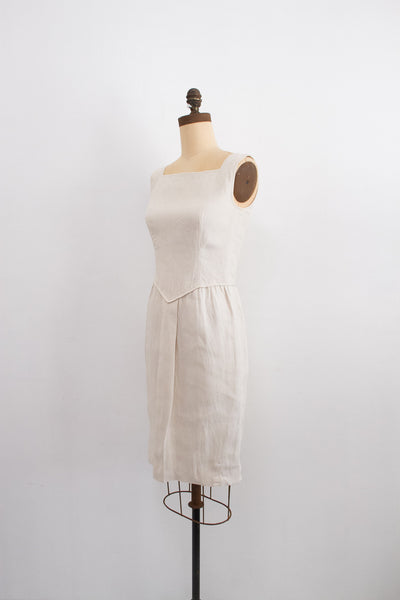 1980s Cream Valentino Linen Tailored Dress