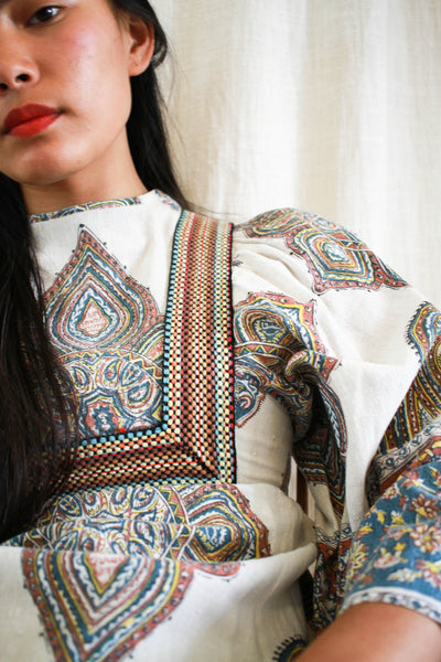 1970s Paisley Indian Block Print Boho Dress