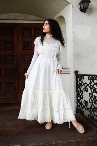 Edwardian White Layered Eyelet Maxi Skirt