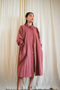 1980s Rose Pleated Japanese Trench Coat