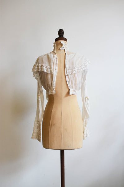 Edwardian Draped Lace Swiss Dot Crop Blouse