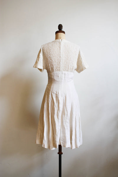 1980s Marie Claire White Linen Empire Mini Dress