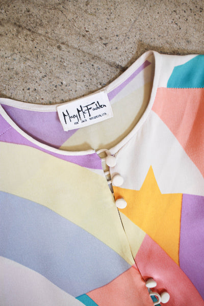 1980s Mary Mcfadden Colorblock Silk Dress