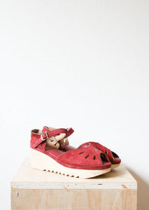 Sz 8 | Deep Red Suede Peep Toe Wedges