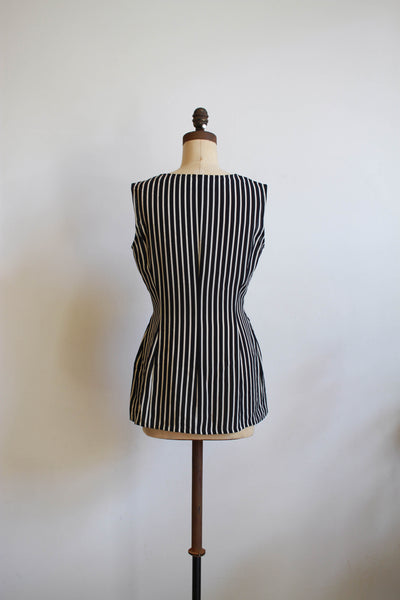 1980s Navy Rayon Striped Tunic