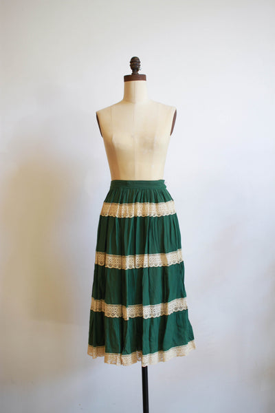1960s Green Lace Tiered Mexican Skirt