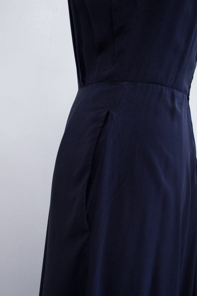 1980s Ralph Lauren Navy Silk Dress