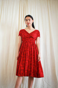 1940s Red Empirical Print Rayon Dress