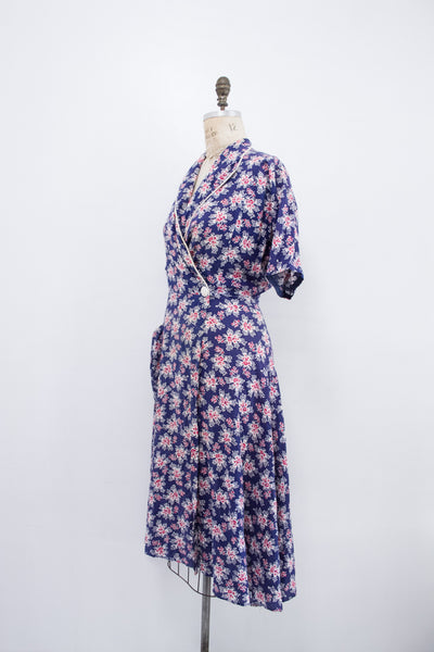 1940s Puckered Floral Wrap Dress