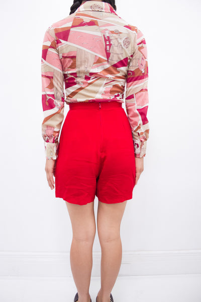1990s Cherry Crepe Betsy Johnson Shorts