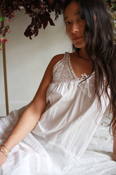 Antique White Cotton Crochet Tiered Dress