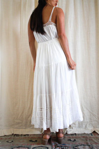 1970s White Gauzy Tiered Maxi Boho Skirt
