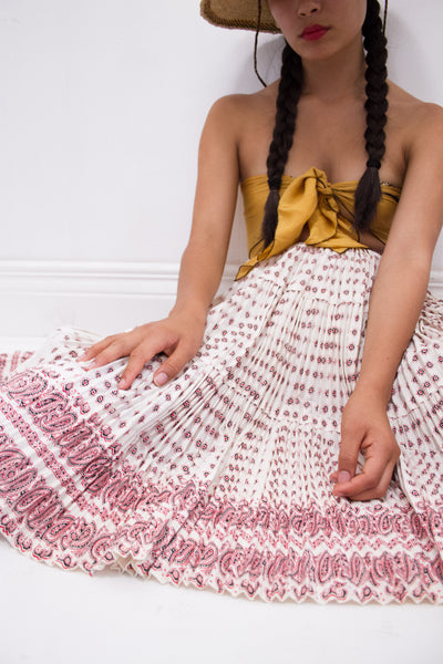 1950s Southwestern Accordion Pleated Skirt