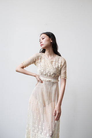 Edwardian Cream Net Lace Heart Embroidered Dress