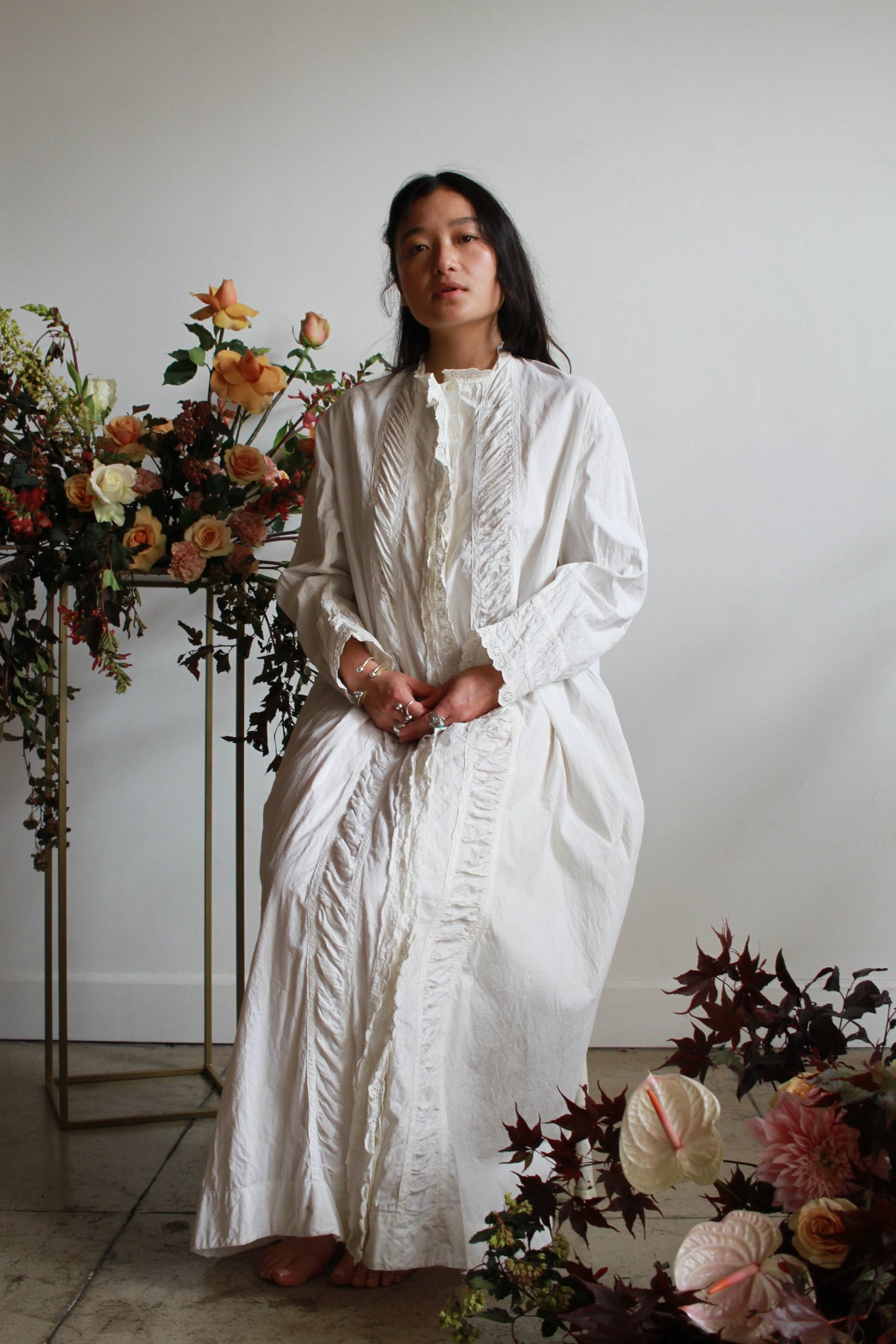 Antique Cotton Long Scalloped Night Dress