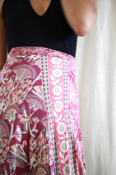 1970s Indian Cotton Print Plum Wrap Skirt