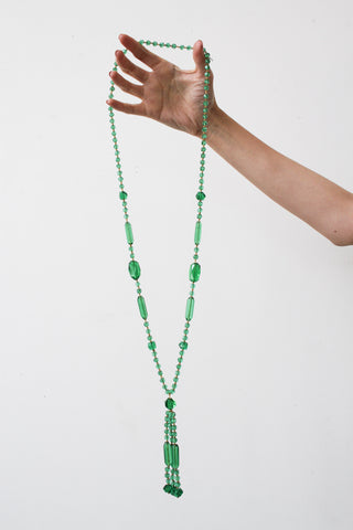 1920s Emerald Glass Beaded Art Deco Necklace