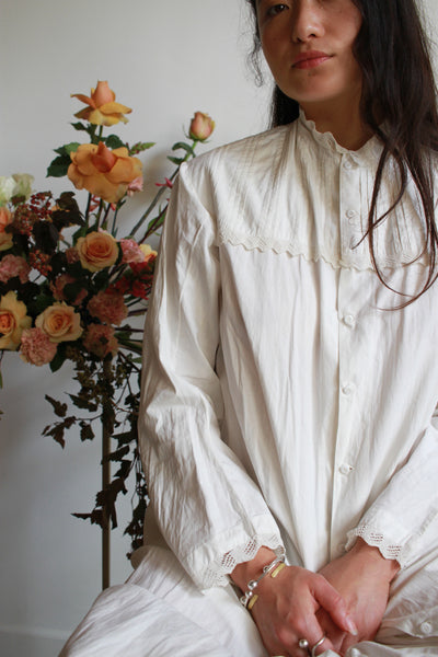 Antique Cotton White Button Up Night Dress