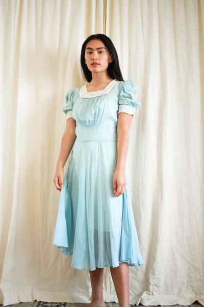 1930s Baby Blue Swiss Dot Sheer Dress