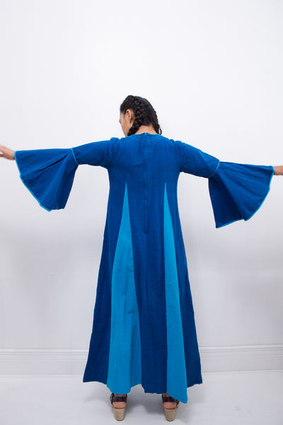 1970s Two-Toned Blue Josefa Maxi Dress