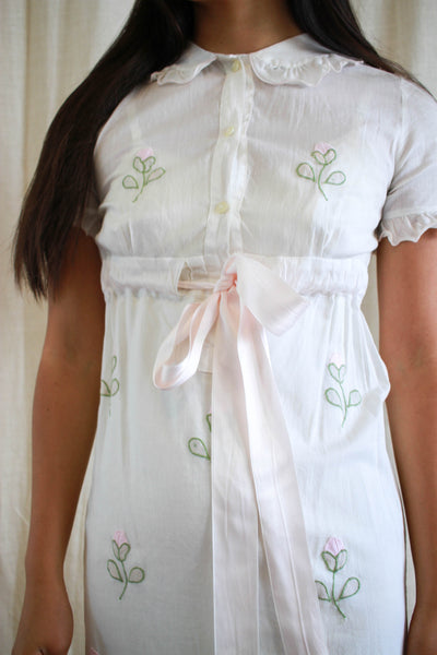 1930s Sweet Tulip Embroidered Cotton Dress