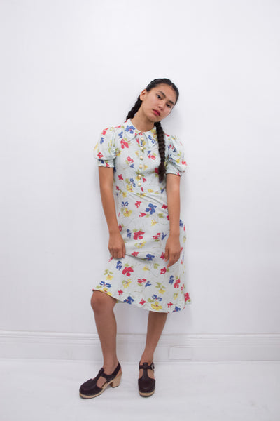1940s Rayon Seafoam Floral Print Dress