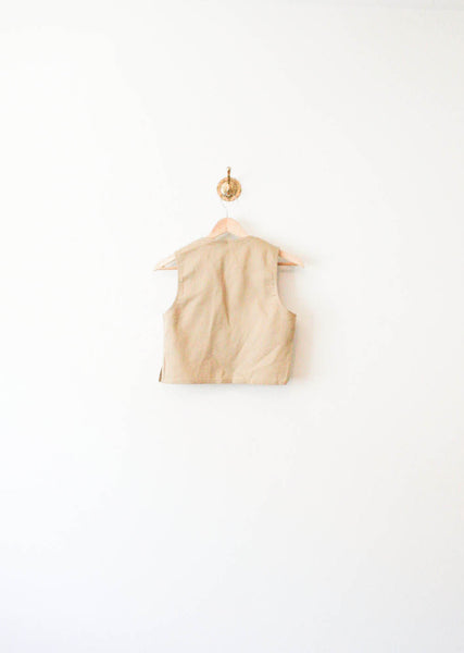 Khaki Minimal Cotton Crop Top