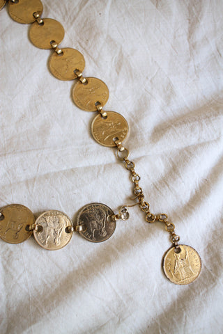 1960s Rare Canadian Regina Elizabeth Gold Coin Chain Belt