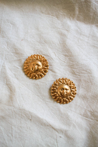 1980s Golden Sun Earrings