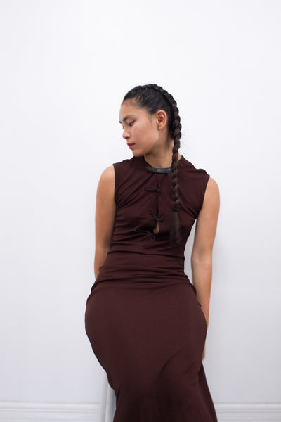 1990s Jean Paul Gaultier Chocolate Femme Dress