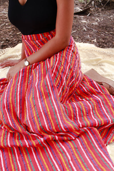 1970s Woven Red Striped Wrap Skirt