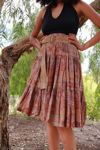 1980s Cotton Mauve Floral Print Skirt