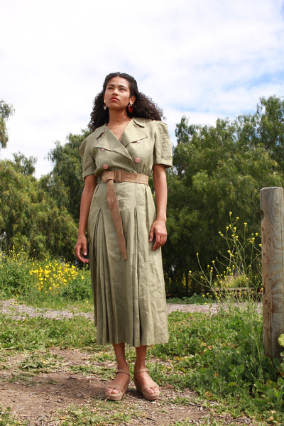 1980s Sage Le Crillon Linen Button Up Dress