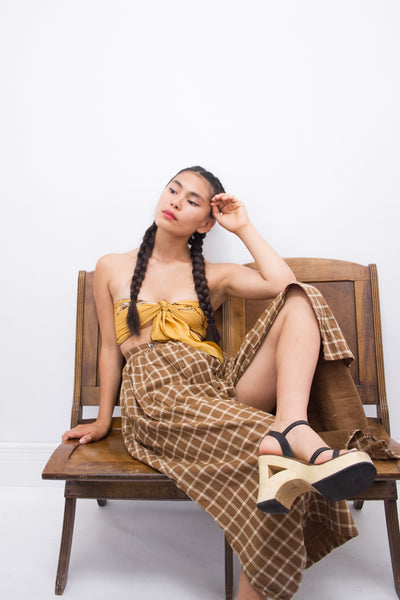 1990s ESPRIT Plaid Wrap Midi Skirt