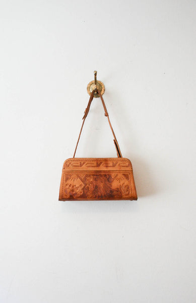 Mexican Motif Leather Tooled Handbag