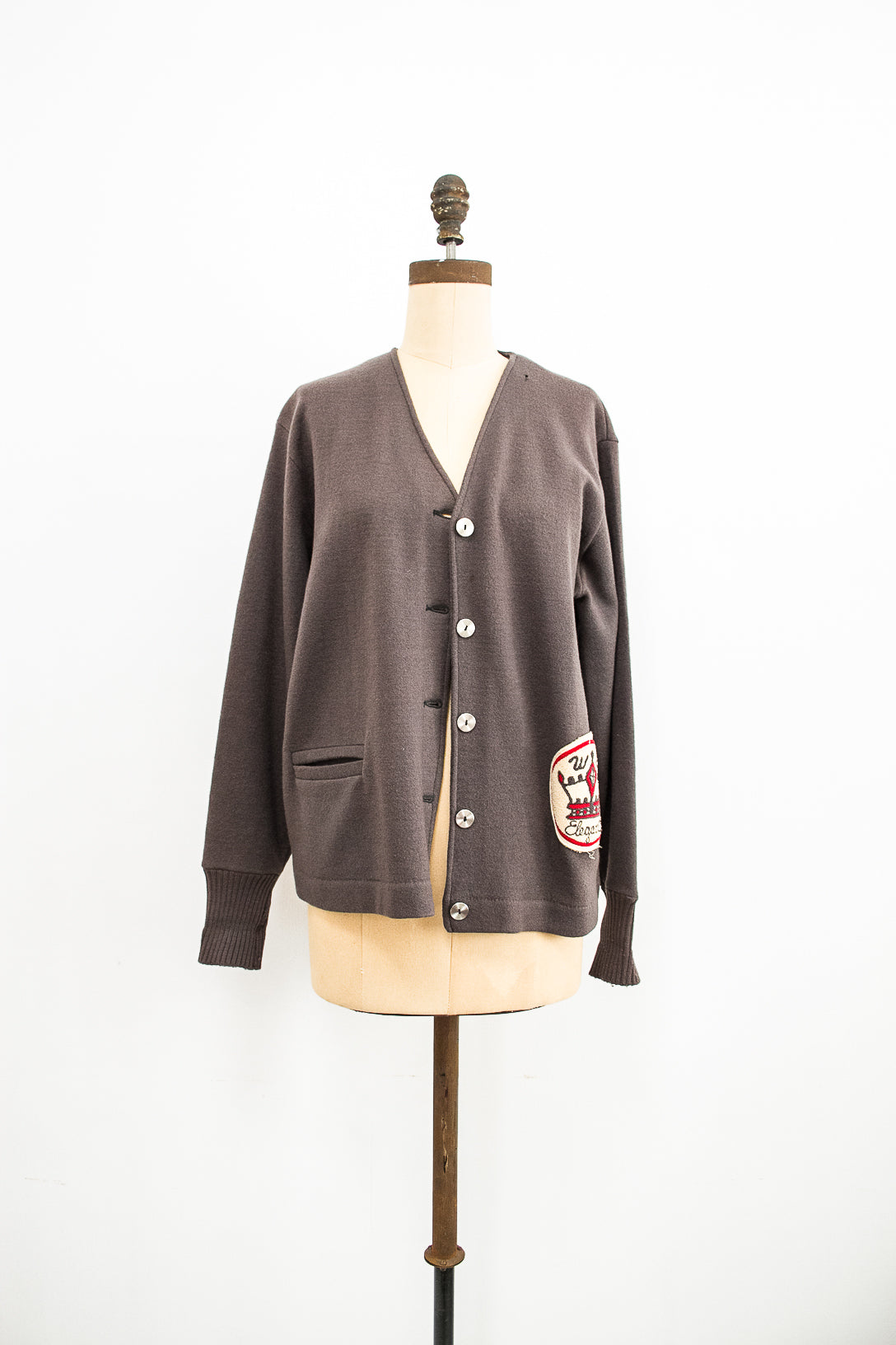 1960s Grey Wool Collegiate Cardigan