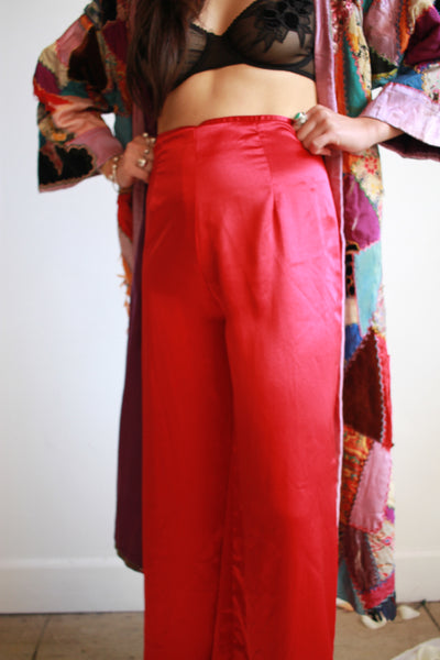 1980s Red Satin High Waist Lounge Pants
