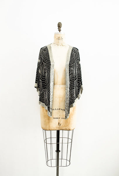 1980s Art Deco Beaded Cardigan