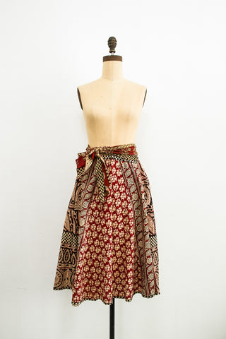 1970s Indian Cotton Maroon Midi Skirt