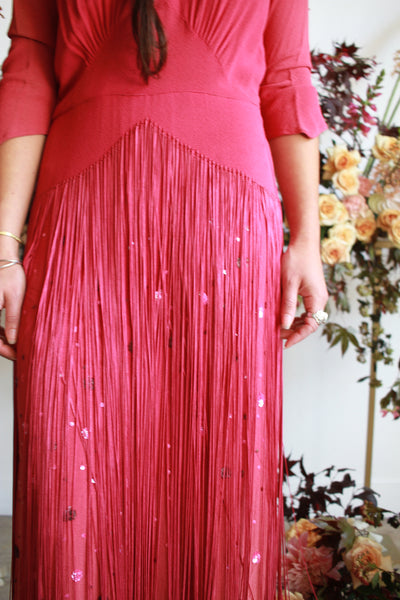 1940s Crepe Rayon Fringe Sequined Gown