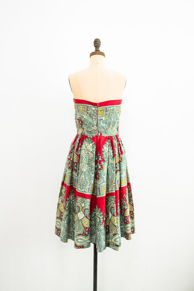 1950s Paisley Print Tube Day Dress