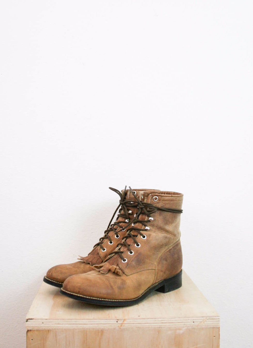 Sz 8 | Justin Camel Brown Leather Rope Boots