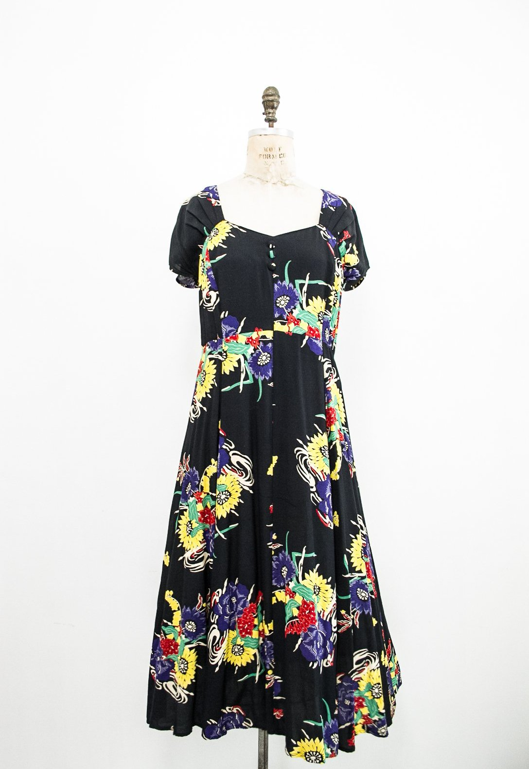 1990s Floral Rayon Cap Sleeve Dress