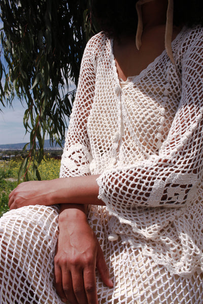 1970s Hand-Crocheted Cotton Two-Piece Set