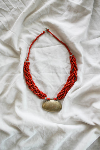 1970s Beaded Tibetan Pendant Necklace