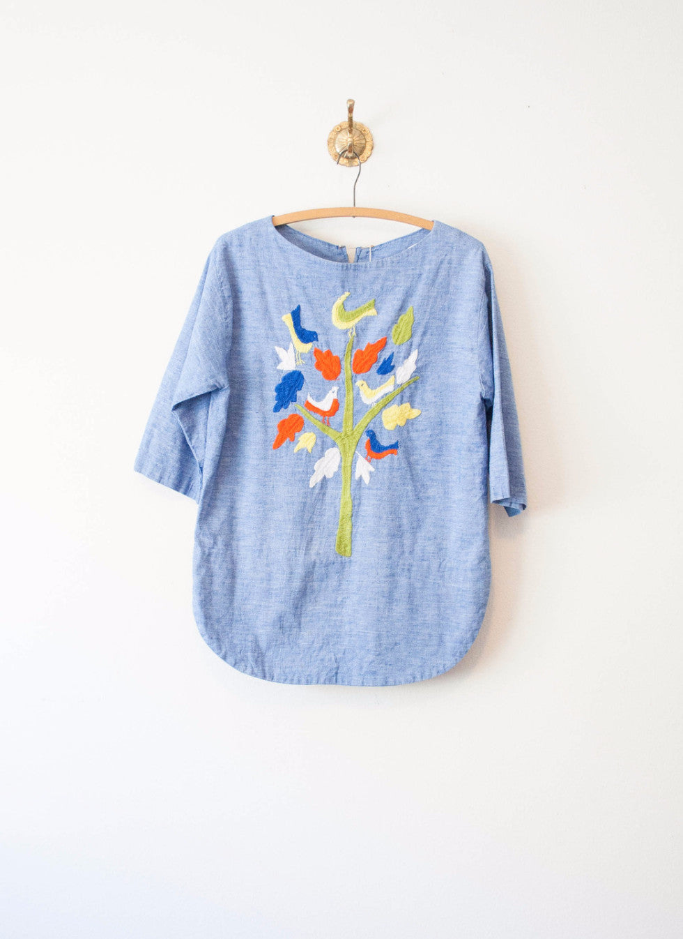 Chambray Mexican Embroidered Tunic Top