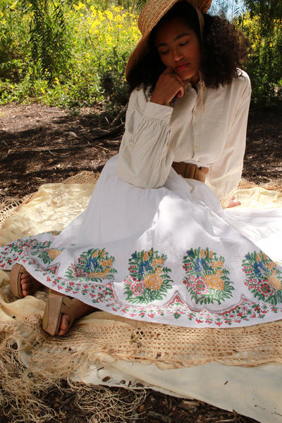 1970s Indian Block Print Gauzy Boho Skirt