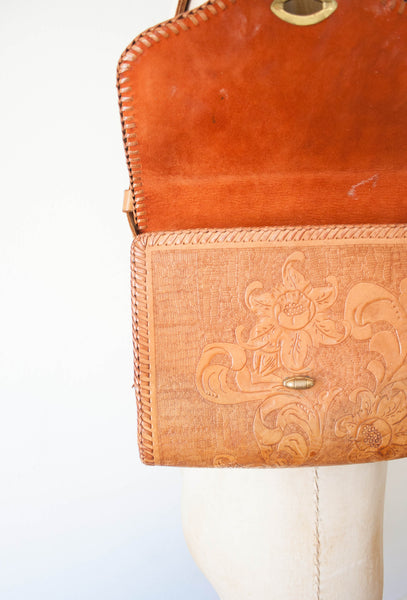 Tan Leather Tooled Handbag